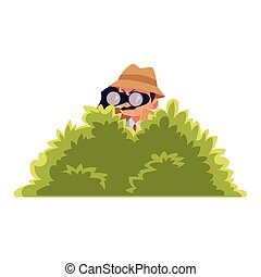Funny detective character looking through binoculars from...