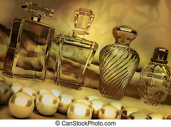 Pearls and different bottles of perfume on dark golden...