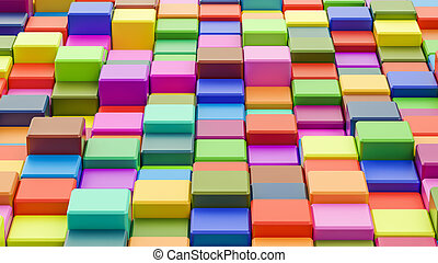 Abstract colorful cubes background in 8K resolution, 3D rendering