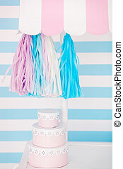 Candy bar. Decor for baby's or child's Birthday party. Pink, blue and white colors