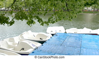 A station for renting boats on a city pond. - A fine rain...