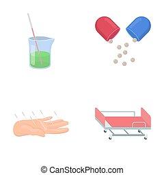 Solution, tablet, acupuncture, hospital gurney.Medicine set...