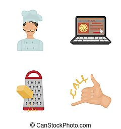 Cook, order by phone, grated cheese, ordering a face gesture.Pizza and pizzeria set collection icons in cartoon style raster,bitmap symbol stock illustration web.