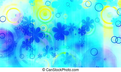 New retro abstraction blue and yellow summer fun flowers and shapes loop