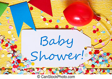 Party Label, Red Balloon, Blue Text Baby Shower