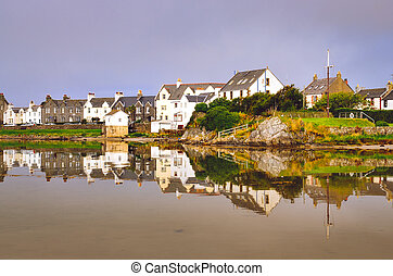 View of Port Ellen town on Isle of Islay, Scotland, United Kingdom