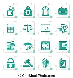 Stylized Business, finance and bank icons - vector icon set