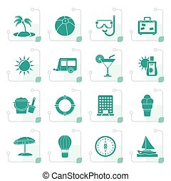 Stylized Vacation and holiday icons