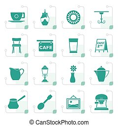 Stylized Cafe and coffeehouse icons