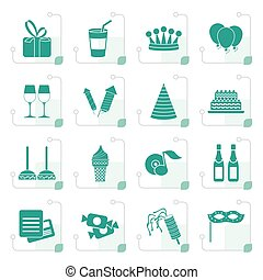 Stylized birthday and party icons - vector icon set