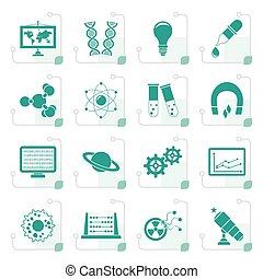Stylized science, research and education Icons - Vector Icon...