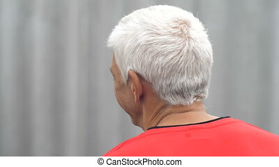 Gray Head of a Man - back old man with balding head
