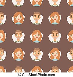 Seamless pattern avatars with facial features nationalities people characters vector illustration