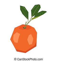 Isolated geometric tangerine on a white background, Vector...