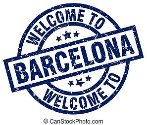 welcome to Barcelona blue stamp
