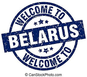 welcome to Belarus blue stamp