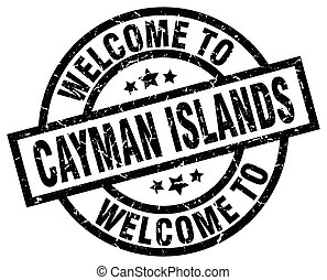 welcome to Cayman Islands black stamp