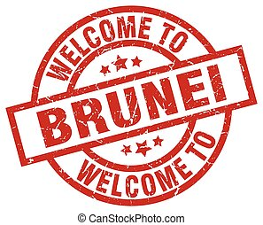 welcome to Brunei red stamp