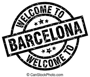 welcome to Barcelona black stamp