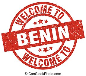 welcome to Benin red stamp