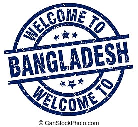 welcome to Bangladesh blue stamp