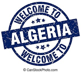 welcome to Algeria blue stamp