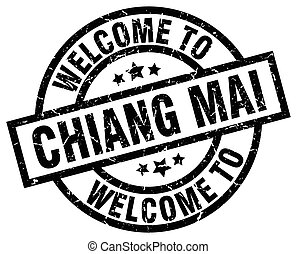 welcome to Chiang mai black stamp