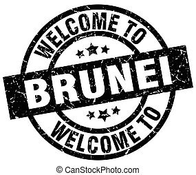welcome to Brunei black stamp