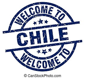 welcome to Chile blue stamp
