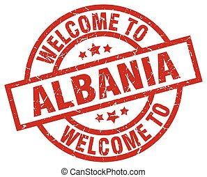 welcome to Albania red stamp