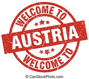 welcome to Austria red stamp
