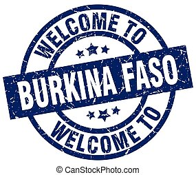 welcome to Burkina Faso blue stamp