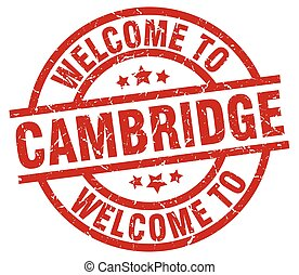 welcome to Cambridge red stamp