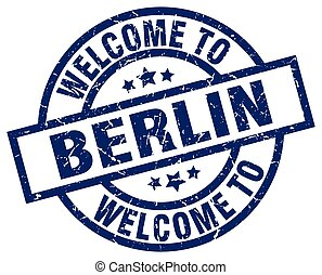 welcome to Berlin blue stamp