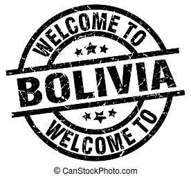 welcome to Bolivia black stamp