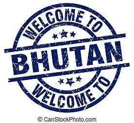 welcome to Bhutan blue stamp
