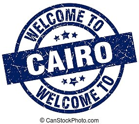 welcome to Cairo blue stamp