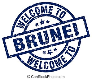 welcome to Brunei blue stamp