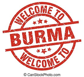 welcome to Burma red stamp