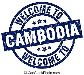 welcome to Cambodia blue stamp