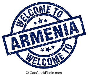 welcome to Armenia blue stamp