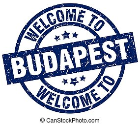 welcome to Budapest blue stamp
