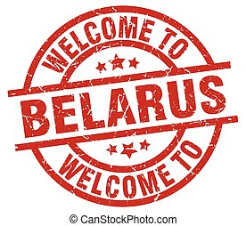 welcome to Belarus red stamp