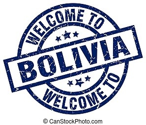 welcome to Bolivia blue stamp
