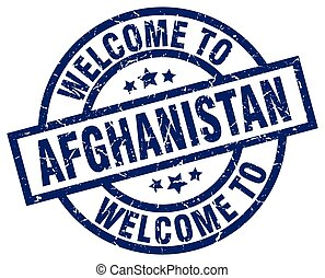 welcome to Afghanistan blue stamp