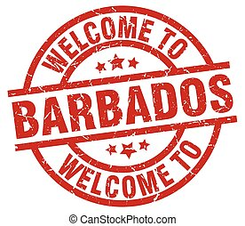 welcome to Barbados red stamp