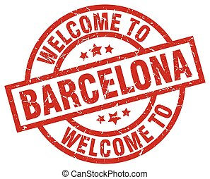 welcome to Barcelona red stamp
