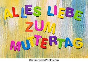 concepto, colorido, Alemán, Cartas,  mother´s, texto, día