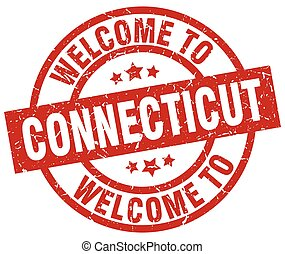 welcome to Connecticut red stamp