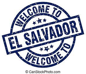 welcome to El Salvador blue stamp